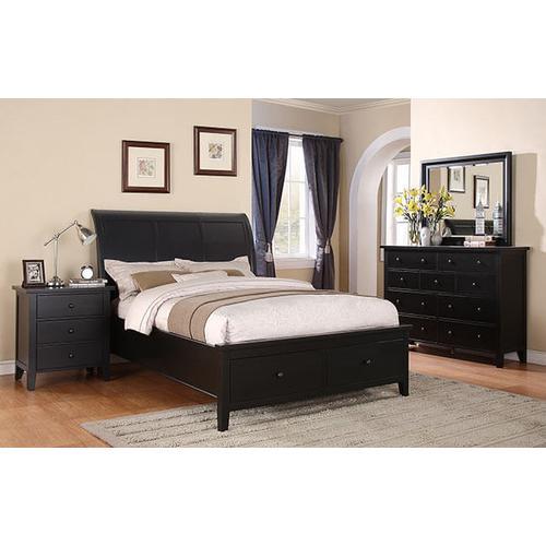Vintage Ebony Queen Sleigh Storage Bed