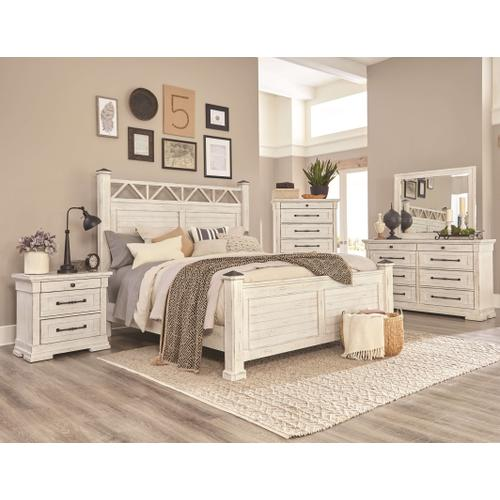 C8047  Bed, Dresser/Mirror, Chest & Nightstand - Antique White