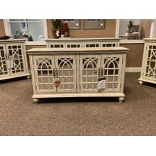 Four Door Media Credenza with Mirrored Doors