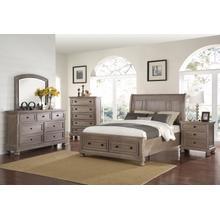Allegra 6/6 EK Bedroom Set 4pc-(BED,DR,MR,NS)-Pewter