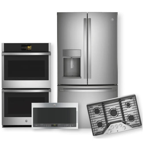"GE PROFILE 27.7 Cu. Ft. French Door Refrigerator & 36"" Built-In Gas Cooktop Package"