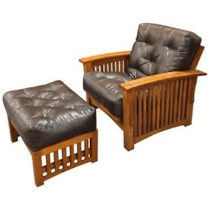 "Burlington Futon Frame - 28"" chair with ottoman"