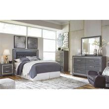 B214 3PC Set: Queen/Full Upholstered Panel Headboard With Mirror & Dresser