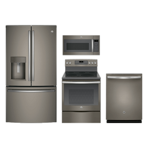 GE 4-Piece Slate Appliance Package with Electric Range