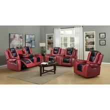 AUSTIN Red W/ Black INSET Sofa, Loveseat and Recliner