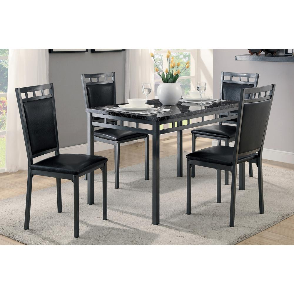 See Details - 5-Piece Pack Dinette Set, Faux Marble Top