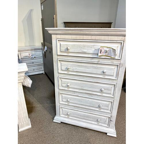 Gabriella White King Bed, Dresser, Mirror, Chest and 2 Nightstands