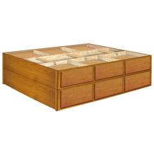 24 Inch Oak 12 Drawer Double Stacked Pedestals Available in King and Queen