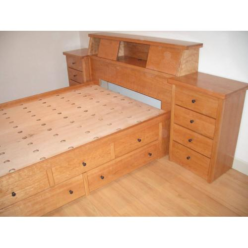Shaker Style Double High Chestbed with Perforated Platform, Slant Headboard and Night Stands
