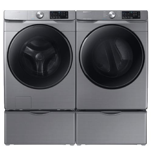 SAMSUNG Steam  4.5 Cu.Ft. Front Load Washer & 7.5 Cu.Ft. Electric Dryer with Pedestals - Platinum