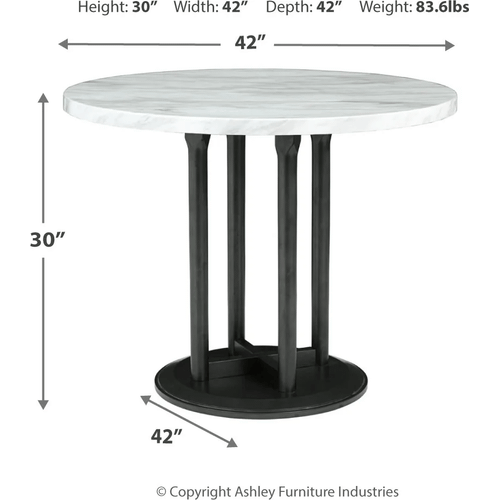 Centiar - Two-tone - 5 Pc. - Round Table & 4 Black Upholstered Chairs