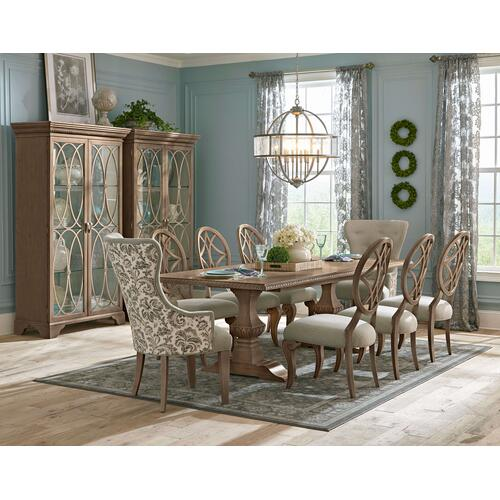 791-102/900/906  Table, 4 Side Chairs, 2 Upholstered Arm Chairs, Side Board and Curio Cabinet