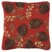 "RUBY PINECONES 18"" HOOKED WOOL PILLOW"