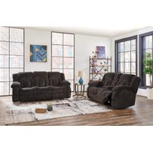Reclining Sofa with Drop Down Table	Brown