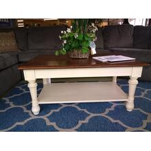 """Cocktail/Coffee Table is 2-toned, dark on light, measures 43.5""""L x 26""""W x 20""""H (End Tables are also available)"""
