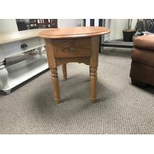Solid Oak Oval 1-Drawer End Table