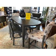 "BASSETT BENCH*MADE 78"" OVAL COUNTER HEIGHT DINING TABLE, 2 UPH COUNTER STOOLS & 4 SIDE COUNTER STOOLS"