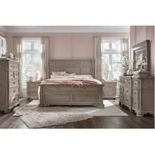 JOCELYN WEATHER TAUPE KING BEDROOM SET: KING BED, NIGHTSTAND, DRESSER & MIRROR