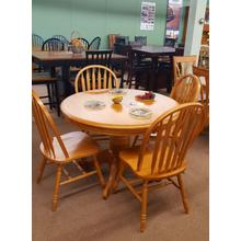 "57"" Pedestal table with 4 side chairs"