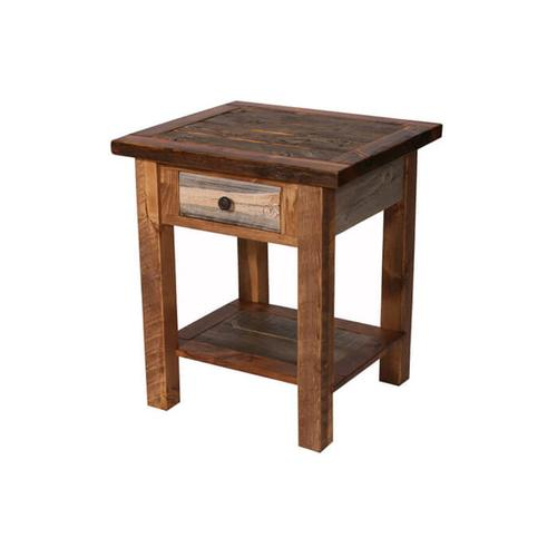 House Lodge Collection - Natural Barn Wood 1 Drawer Nightstand
