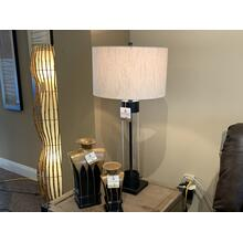 Tall Black with Clear Glass Table Lamp with Linen Drum Shade