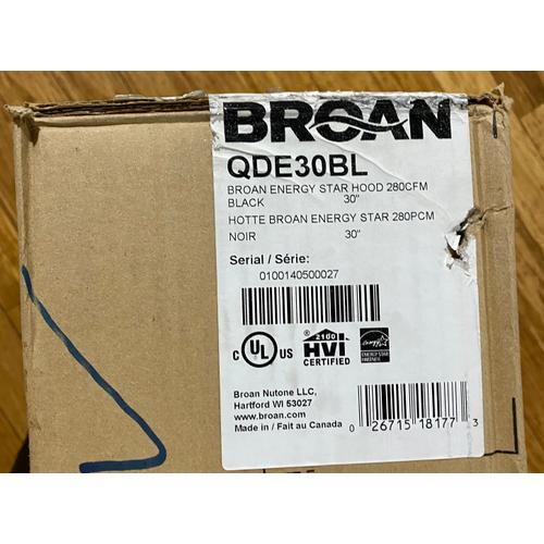 """Product Image - Broan QDE30BL    290 CFM 30"""" wide, ENERGY STAR® Undercabinet Range Hood in Black"""