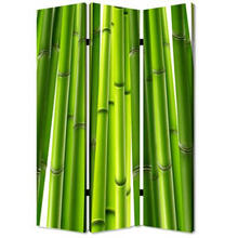 Bamboo Print Screen 3 Panel Room Divider