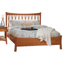 King Solid Natural Cherry Wishbone Bed with Low Footboard