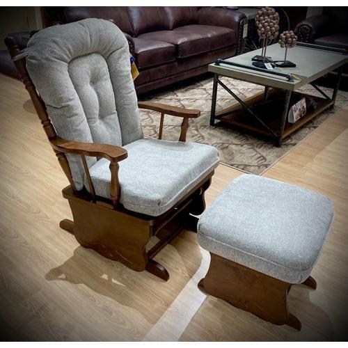 Best Home Furnishings - KNOX Glider Rocker & Ottoman in Platinum       (C8987/C0097DP-20573,29015)