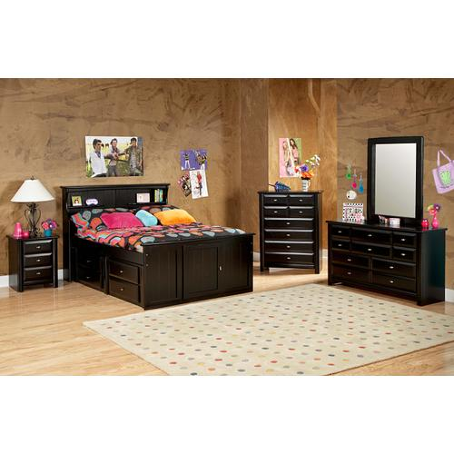 "Full Captains Bed W"" Trundle & Drawers Black Cherry"