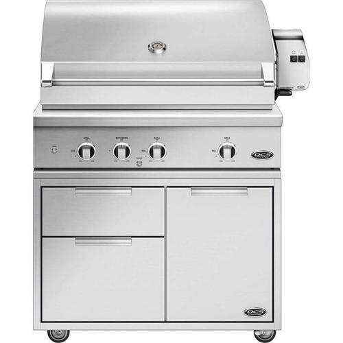 """DCS Floor Model - 7 Piece Grill Package, Includes 36"""" Series 9 Grill with Grill Cart, Side Shelf, Tank Cover and more!"""