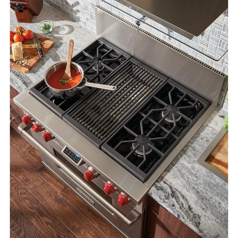 36'' Dual Fuel Range - 4 Burners and Infrared Charbroiler