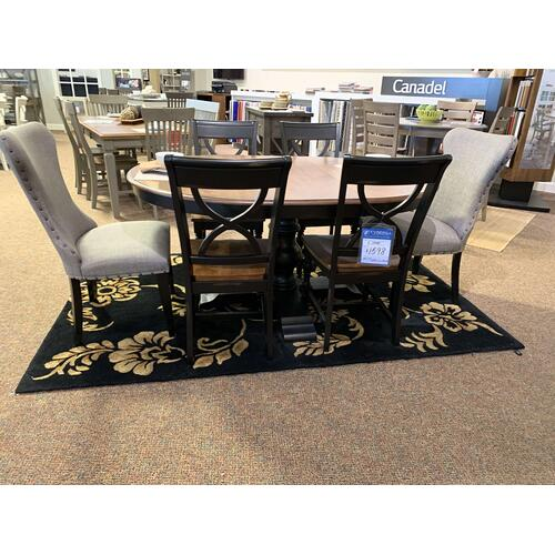 Oval Dining Table with Black & Grey Upholstered Accent Chairs