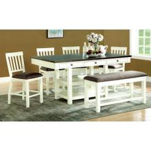 Chelsea 6 Piece Counter Height Dining Set - Table, 4 Stools and Bench