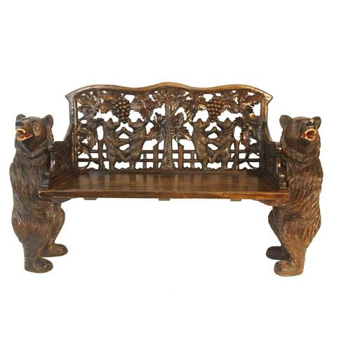 Carved Bear Bench