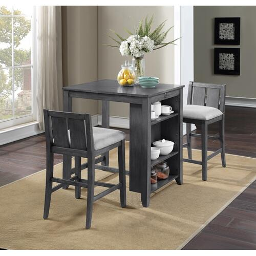 """Heston 3-Piece 36"""" Counter Height Dining Set in Gray Finish"""