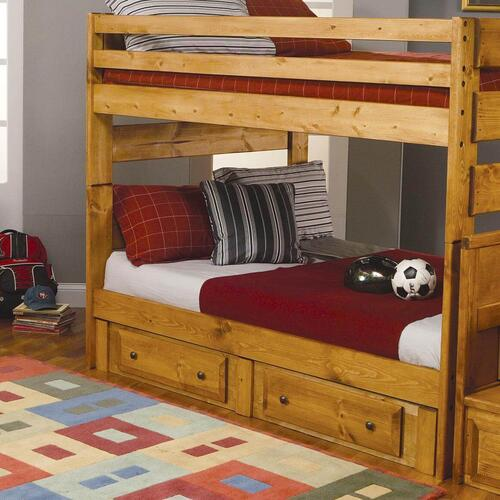 Full/Full Amber Wood Bunk Bed w/  Underbed Storage