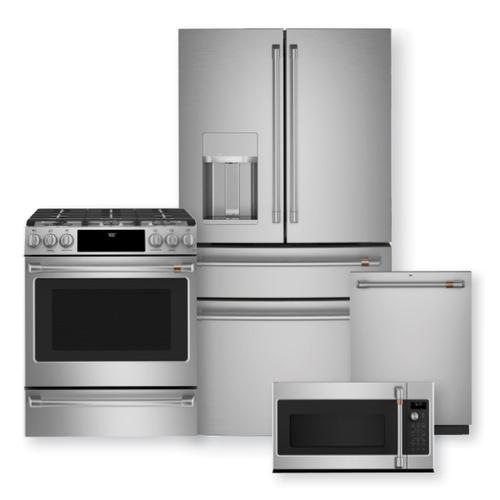 """CAFE 27.8 Cu. Ft. Smart 4-Door French-Door Refrigerator & 30"""" Smart Slide-In, Front-Control, Dual-Fuel Range Package"""