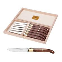 Claude Dozorme Stainless Steel 6-Piece Steak Knife Set with Rosewood Handle