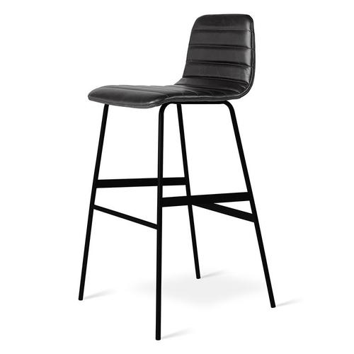 Gus Modern - Lecture Upholstered Barstool Saddle Black Leather