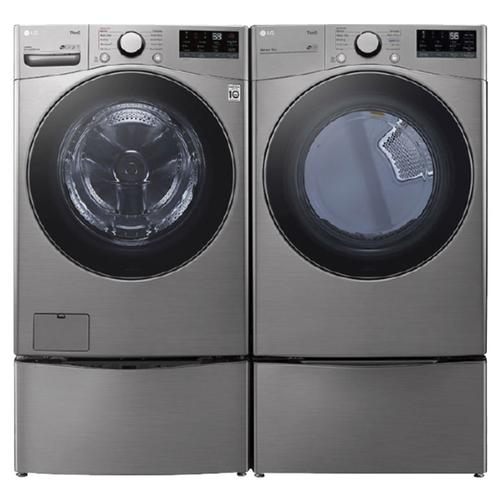 LG  Ultra Large Capacity Smart wi-fi Enabled 4.5 cu. ft. Front Load Washer & 7.4 cu. ft. Electric Dryer w/ Pedestals- Graphite Steel