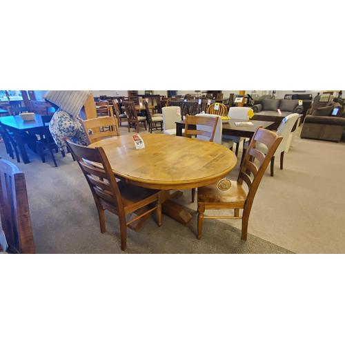 A America - Bennett Pedestal Table and 4 chairs for one package price!