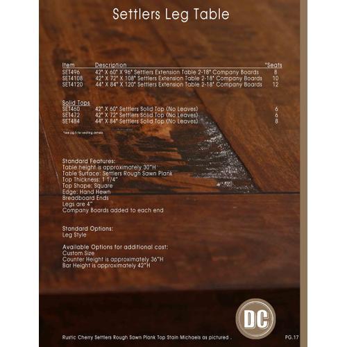 Settlers Leg Table