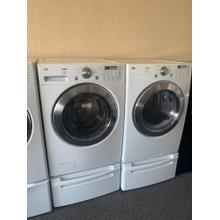 Refurbished LG White Front Load Washer Dryer Set on pedestals. Please call store if you would like additional pictures. This set carries our 6 month warranty, MANUFACTURER WARRANTY AND REBATES ARE NOT VALID (Sold only as a set)