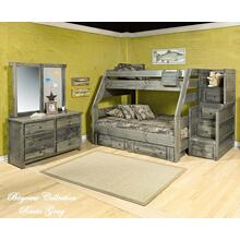 High Serria Staircase Bunk Bed Rustic Grey Finish