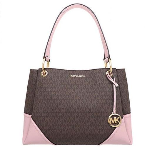 MICHAEL KORS Nicole Large Shoulder Tote Bag - Brown & Blossom