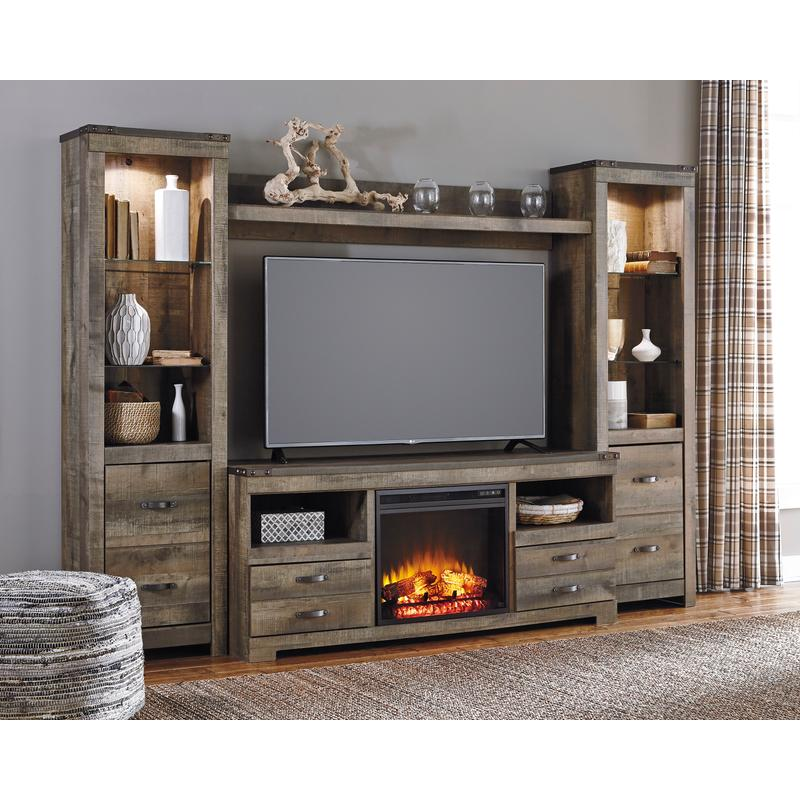 View Product - Trinell Brown 5 Piece Fireplace Entertainment Center