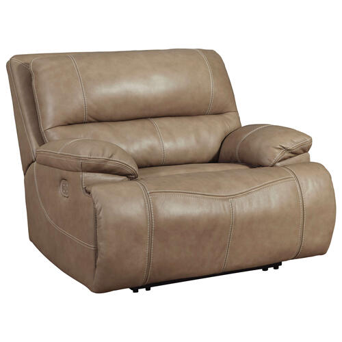 Ashley Furniture - ASHLEY U43702-82 Ricmen Putty Leather Power Wide Recliner