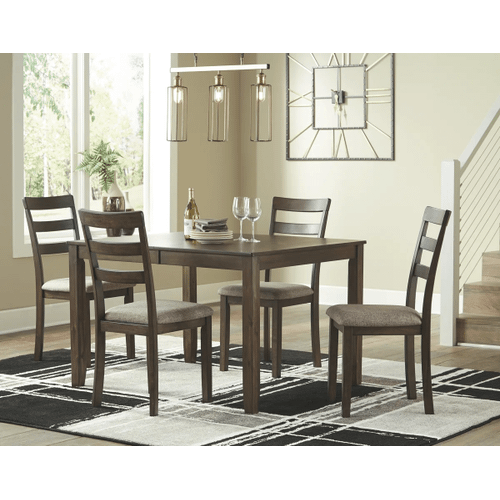 Drewing - Brown - 5 Pc. - Rectangular Extension Table & 4 Upholstered Side Chairs