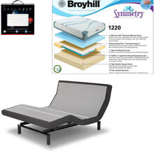 Leggett & Platt Prodigy 2.0 Adjustable Bed, Broyhill 1220 Cool Gel Memory Foam Mattress, and set of Dreamfit Sheets